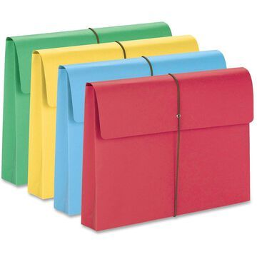 Smead - 77271 - 2 Exp Wallet, Elastic Cord, Legal, Blue/Green/Red/Yellow, 50/Box