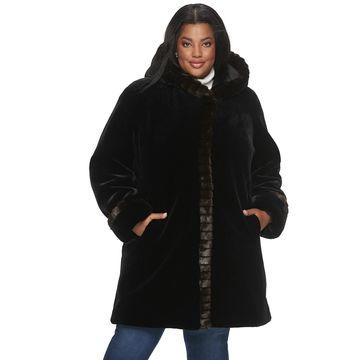Plus Size Gallery Hooded Faux-Fur Coat