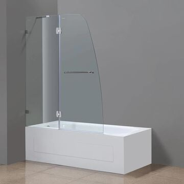 Aston Soleil 48-in x 58-in Completely Frameless Hinged Tub Door in Chrome with Clear Glass Stainless Steel | TDR982CH486