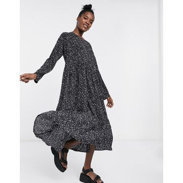 Noisy May tiered maxi dress in black smudge print-Multi