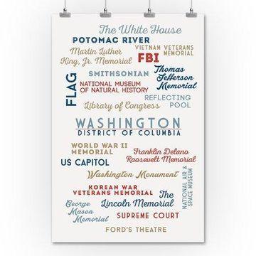 Washington, DC - Typography - Lantern Press Artwork (36x54 Giclee Gallery Print, Wall Decor Travel Poster)