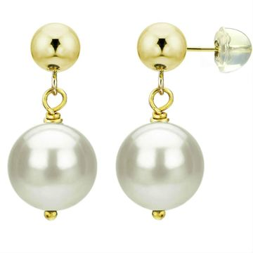 DaVonna 14k Yellow Gold White Cultured Pearl Dangle Earring