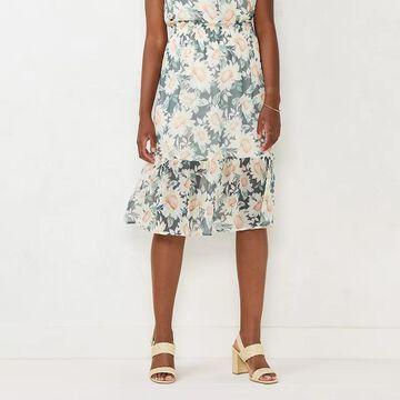 Women's LC Lauren Conrad Smocked Waist Tiered Midi Skirt, Size: XS, Yellow