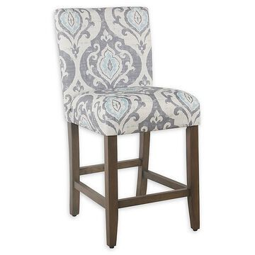 """Homepop Parsons 24"""" Counter Bar Stool In Blue"""
