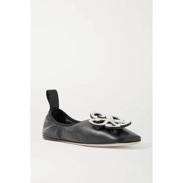 Loewe - Faux Pearl-embellished Leather Ballet Flats - Black