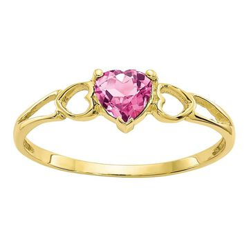 14K Yellow Gold Polished Pink Tourmaline Birthstone Ring by Versil