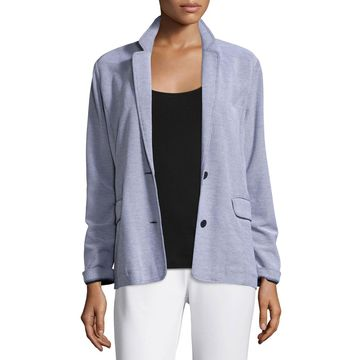Plus Size Two-Button Pique Boyfriend Jacket