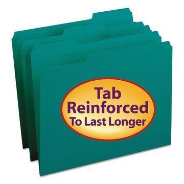 Smead File Folders 1/3 Cut Reinforced Top Tab Letter Teal 100/Box 13134