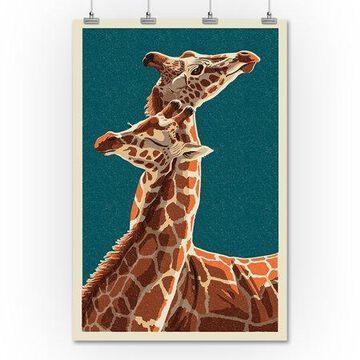 Giraffe - Letterpress - Lantern Press Poster (36x54 Giclee Gallery Print, Wall Decor Travel Poster)