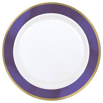 Amscan 7.5-in. Premium Plastic Plates with New Purple Border