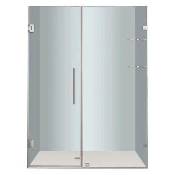 Aston Nautis GS Frameless Hinged Shower Door, Stainless Steel, 57