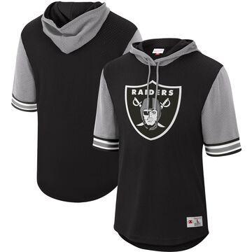 Mitchell & Ness Las Vegas Raiders Black Buzzer Beater Mesh Short Sleeve Pullover Hoodie