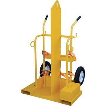 Vestil Welding Cylinder Cart with Fork Pockets - 500-Lb. Capacity, Pneumatic Wheels, Powder-Coat with Fire Protection, Model CYL-2-FP