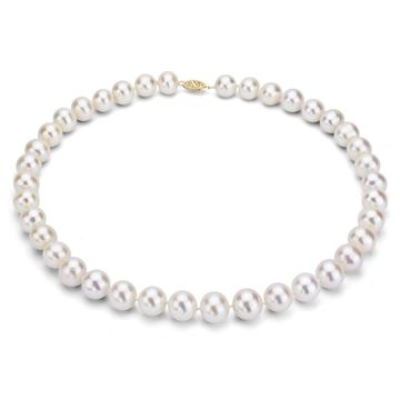 DaVonna 14K Yellow Gold White Freshwater Cultured Pearl Strand Necklace (16-36 inches)