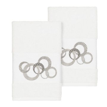 Authentic Hotel and Spa Turkish Cotton Circles Embroidered White 2-piece Towel Hand Set