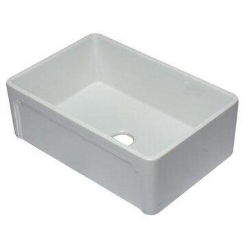 ALFI brand AB3020SB-W 30 inch White Reversible Single Fireclay Farmhouse Kitchen Sink
