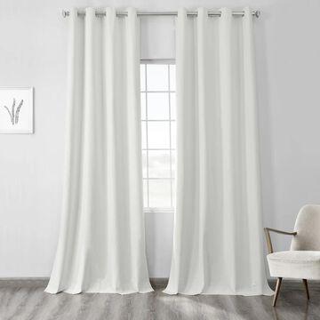 Exclusive Fabrics Vintage Thermal Cross Linen Weave Max Blackout Grommet Curtain (50 X 96 - Millennial Grey)