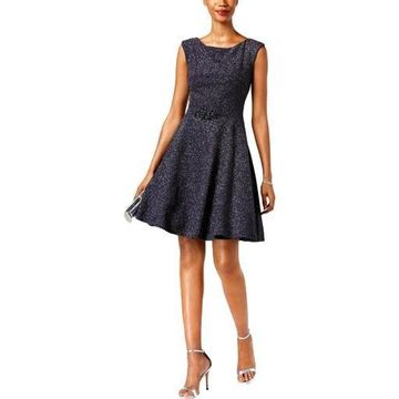 Betsy & Adam Womens Embellished Glitter Cocktail Dress