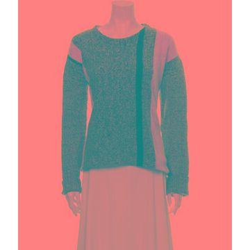 Colorblock Pattern Scoop Neck Sweater Grey