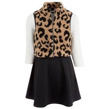 Big Girls 2-Pc. Cheetah-Print Fleece Vest & Colorblocked Dress Set