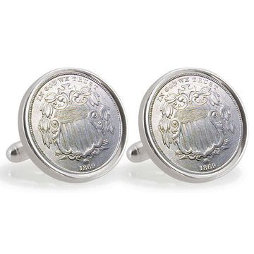 American Coin Treasures Sterling Silver Nickel University of Nebraska 1869 Cuff Links