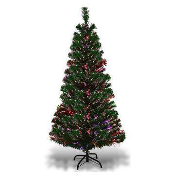 Costway 5Ft Pre-Lit Fiber Optic Artificial PVC Christmas Tree w/ Metal Stand