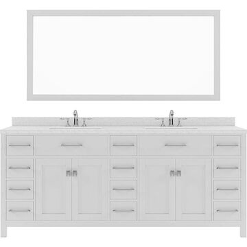 Virtu USA Caroline Parkway 78-in White Undermount Double Sink Bathroom Vanity with Dazzle White Quartz Top (Mirror and Faucet Included)