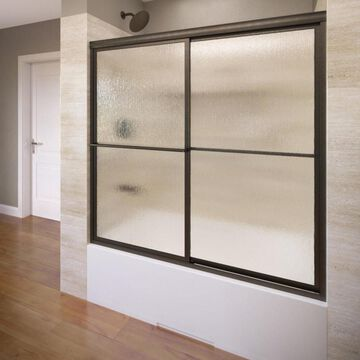 Basco Deluxe 54-in to 56-in W Framed Oil-Rubbed bronze Bypass/Sliding Shower Door