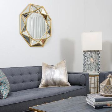 Geo Octagonal Aged Gold Accent Wall Mirror - Aged Gold (Aged Gold)