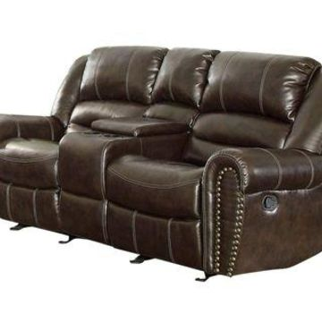 ''Homelegance 9668BRW-2 Double Glider Reclining Loveseat with Center Console, B...''