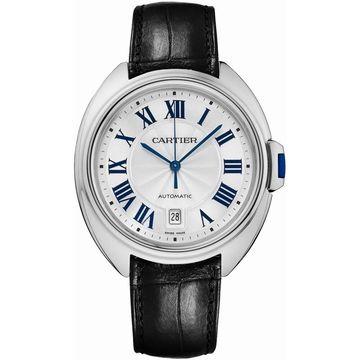 Cartier Men's WSCL0018 'Cle De Cartier' Black Leather Watch