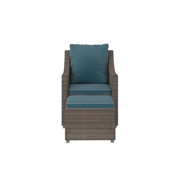 Outdoor 2-Piece Patio Lounge Chair And Ottoman or Table Set