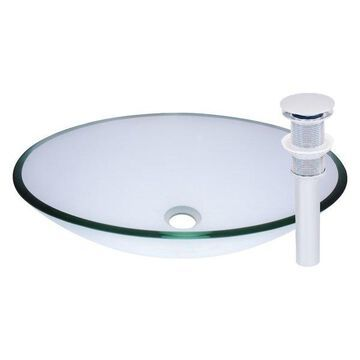 Ovale Glass Vessel Sink and Drain, Chrome