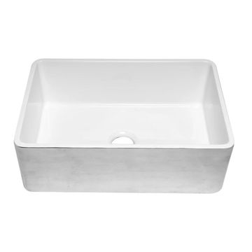 ALFI brand ABHP3020SB Hammered Platinum/Fluted 30 inch Reversible Single Fireclay Farmhouse Kitchen Sink