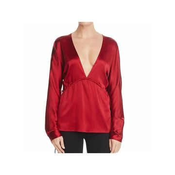 ELIZABETH AND JAMES Womens Red Long Sleeve V Neck Blouse Top Size M