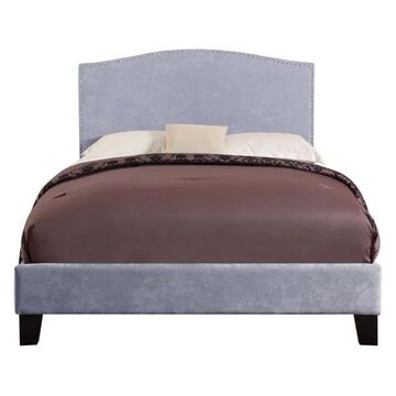 Pemberly Row Saint Lucia Gray Upholstered Queen Platform Panel Bed