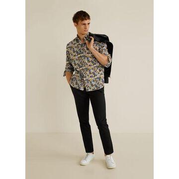 MANGO MAN - Regular fit floral print shirt ochre - S - Men