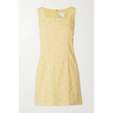 Lisa Marie Fernandez - Charlotte Broderie Anglaise Cotton-voile Mini Dress - Yellow
