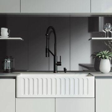 VIGO Matte stone Farmhouse Apron Front 36-in x 18-in Matte White Single Bowl Workstation Kitchen Sink All-in-One Kit | VG15744