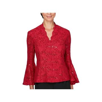 Alex Evenings Womens Blouse Lace Bell Sleeves