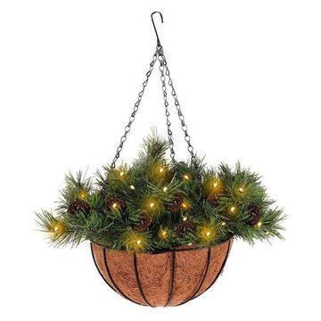 Costway 12-inch Hanging Christmas Decor Battery-operated Lights & Pine Cones