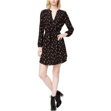 maison Jules Womens Heart-Print Surplice Dress