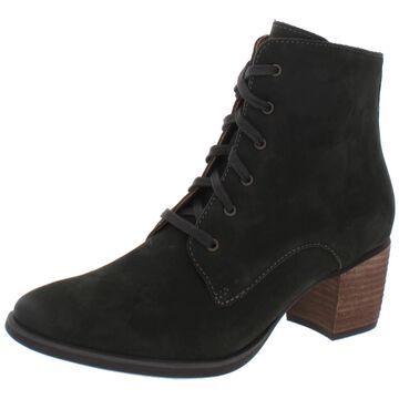 Aetrex Womens Stella Block Heel Boot Leather Lace Up - Olive