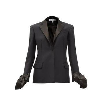 Loewe - Ruffle-cuff Single-breasted Wool-blend Jacket - Womens - Navy