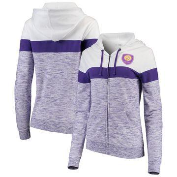 Women's 5th & Ocean by New Era Purple/White Orlando City SC Space Dye French Terry Full-Zip Hoodie