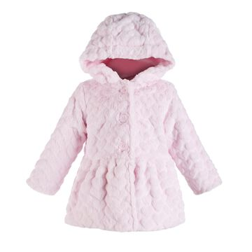 Baby Girls Hooded Fur Hearts Coat, Created for Macy's