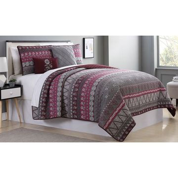 Amrapur Overseas Henna 5-Piece Reversible Quilted Coverlet Set