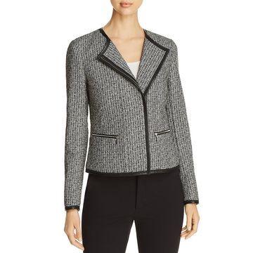 Lafayette 148 New York Womens Caridee Pattern Asymmetrical Tweed Jacket