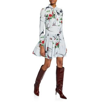 Swallows & Waterlilies Tie-Neck Long-Sleeve Dress