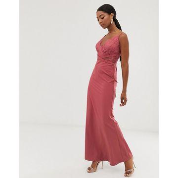 Little Mistress lace top fishtail maxi dress in dark coral-Pink